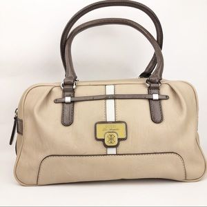 GUESS Tan Cream Brown Leather Satchel Handbag